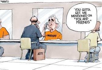 Political Cartoon U.S. Trump pardons Fox News Madoff