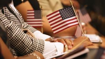 A U.S. naturalization ceremony