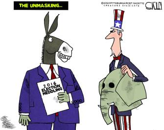 Political Cartoon U.S. democrats 2016 election unmasking