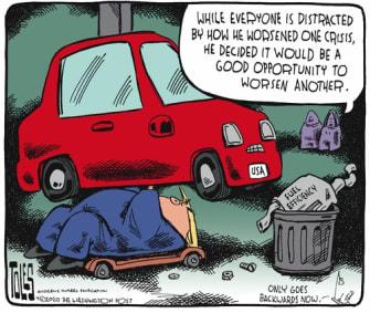 Political Cartoon U.S. Trump worsens two crisis pandemic oil prices economy