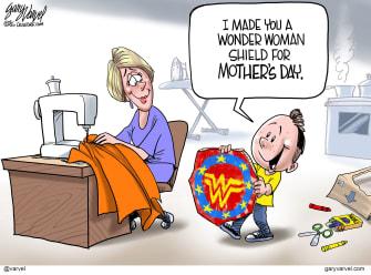 Editorial Cartoon U.S. mothers day wonder woman