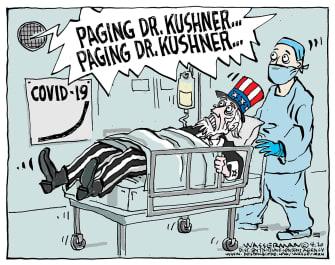 Political Cartoon U.S. paging doctor Jared Kushner botch leadership