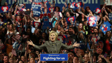 Hillary Clinton speaks to supporters Tuesday in Philadelphia.