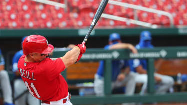 Tyler O'Neill #41 of the St. Louis Cardinals hits a two-RBI double against the Kansas City Royals in the second inning at Busch Stadium on July 22, 2020 in St Louis, Missouri.