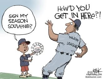 Editorial Cartoon U.S. baseball 2020 coronavirus MLB