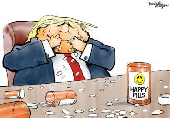 Political Cartoon U.S. Trump hydroxychloroquine coronavirus