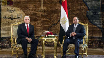 U.S. Vice President Mike Pence meets with Egyptian President Abdel-Fattah el-Sissi, right, at the Presidential Palace in Cairo, Egypt, Saturday, Jan. 20, 2018.