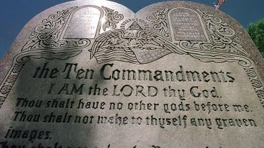 Ten commandments sculpture.