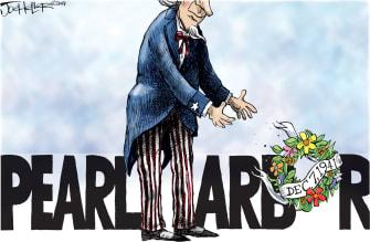 Political Cartoon U.S. Pearl Harbor Memorial