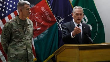 Gen. James Mattis at a news conference in Kabul