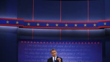 Obama speaks during the presidential debate on Oct. 3: In the next two debates, the president would likely benefit from calling Mitt Romney out on his flip-flopping and demanding specifics to