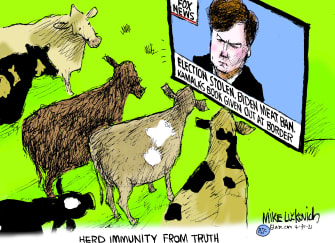 Political Cartoon U.S. tucker carlson fox news