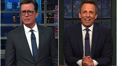 Stephen Colbert and Seth Meyers talk Trump and trucks