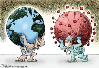 Editorial Cartoon World Atlas Earth Coronavirus healthcare workers pandemic heavy lifting