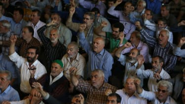 Funeral for the victims killed by the June 7 attack at the Iranian parliament and Ayatollah Khomeini's mausoleum.