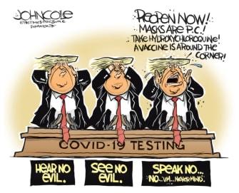 Political Cartoon U.S. Trump see hear speak no evil coronavirus hydroxychloroquine