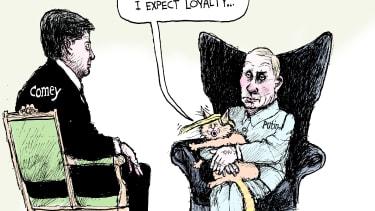Political cartoon U.S. Comey hearing Trump loyalty Putin Godfather