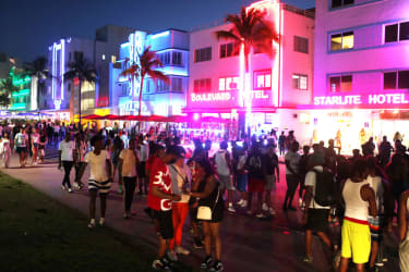 Spring Break revelers in Miami Beach on Saturday night.