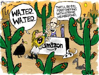 Editorial Cartoon U.S. Bezos Amazon exploits customers workers protest
