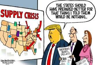 Political Cartoon U.S. Trump fails to warn states coronavirus supply crisis