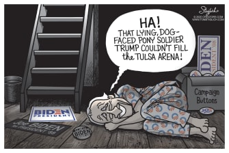 Political Cartoon U.S. Trump Tulsa rally Biden basement
