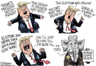 Political Cartoon U.S. Trump Georgia senate loss
