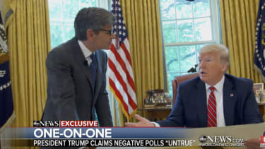 George Stephanopoulos and Donald Trump.