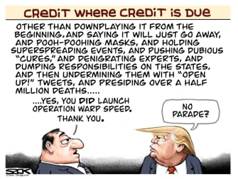 Political Cartoon U.S. trump warp speed covid