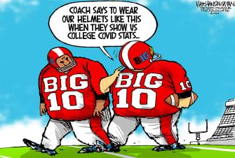 Editorial Cartoon U.S. Big 10 NCAA college football COVID