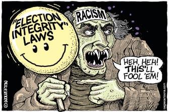 Political Cartoon U.S. georgia voting gop racism