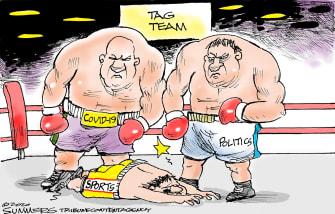 Editorial Cartoon U.S. COVID sports politics