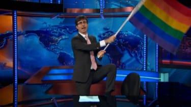 John Oliver waves the flag