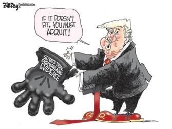 Political Cartoon U.S. trump impeachment acquittal oj simpson glove