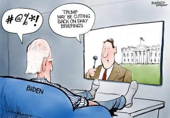 Political Cartoon U.S. Trump cuts on daily briefing Biden 2020 election