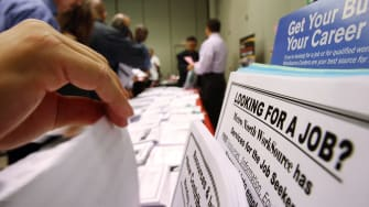 Job seekers attend a career expo