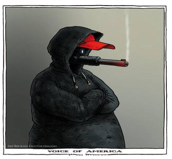 Editorial Cartoon U.S. America political violence protests