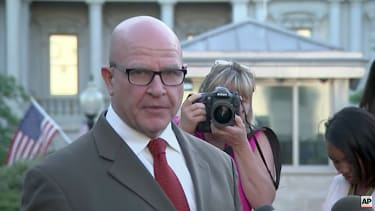 National Security Adviser H.R. McMaster protests