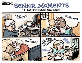 Editorial Cartoon U.S. senior covid vaccine
