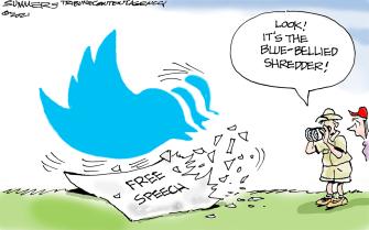 Editorial Cartoon U.S. twitter free speech