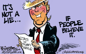 Political Cartoon U.S. Trump lying impeachment Trumpism SOTU