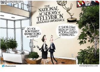 Political Cartoon U.S. cuomo nursing home deaths emmy