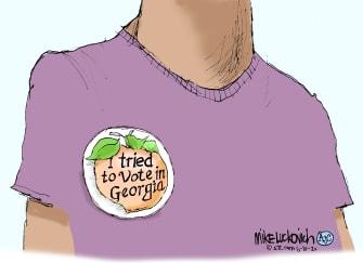 Editorial Cartoon U.S. Georgia primary voting problems