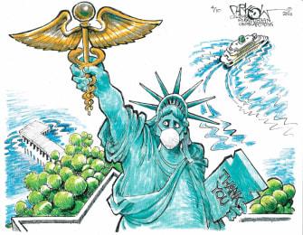 Editorial Cartoon U.S. coronavirus statue of liberty medical workers