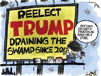 Political Cartoon U.S. Trump Rod Blagojevich draining the swamp pardons corruption reelection