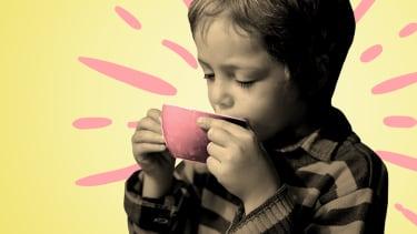 A boy drinking.