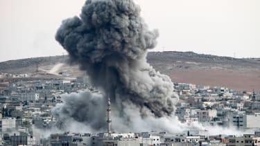 An airstrike in Kobani, Syria.