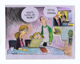 Political Cartoon U.S. virtual learning Fauci Brix teach Trump