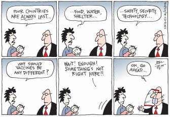 Editorial Cartoon U.S. covid vaccines poor countries
