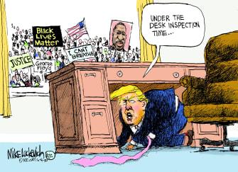 Political Cartoon U.S. Trump George Floyd protests bunker