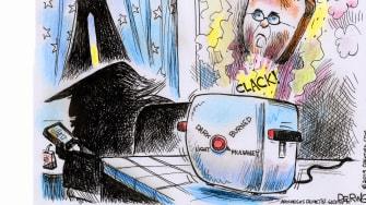 Political Cartoon U.S. Trump Impeachment Mick Mulvaney Toast